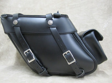 112P Deluxe Wide Angle Rear Pocket Leather Saddlebags