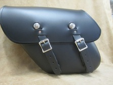 Leather solo bag for Harley Davidson Dynas available in custom colors, brown and white leather