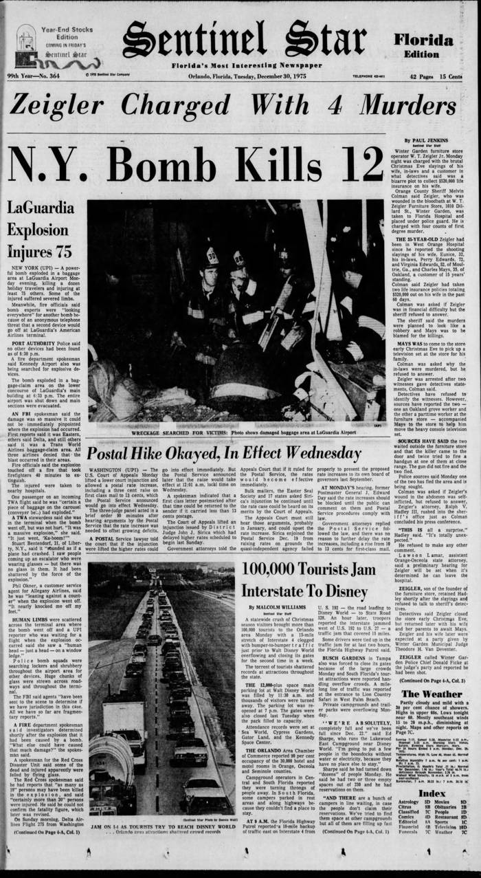 Newspaper front page, below the Zeigler story are stories about a bombing at LaGuardia airport that killed 12, postal rates going up, and Disney World traffic on I-4.