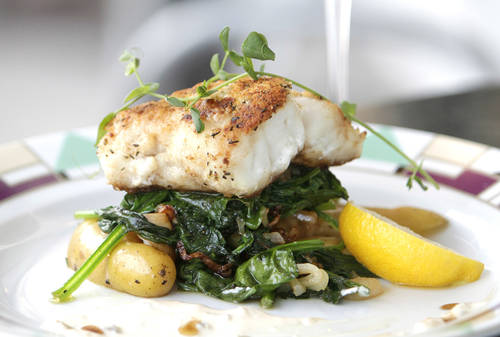 Potato-crusted Florida grouper  [LARA CERRI  |  Times]