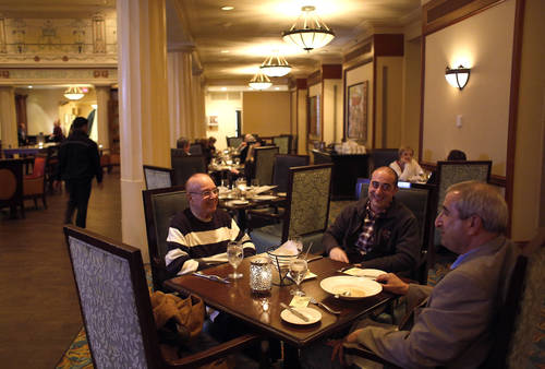 Guests enjoy a meal in the dining room.  [LARA CERRI  |   Times]