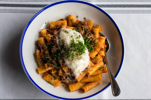 Rigatoni and short rib ragu with creamy burrata and Calabrian chili  [ALESSANDRA DA PRA  |  Times]