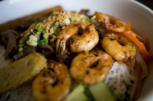 Shrimp and beef vermicelli bowl [ZACK WITTMAN  |  Times]