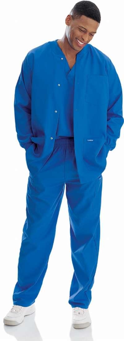 New Landau 7551 Mens Warm Up Jacket Royal Blue Medical Nurse Scrubs