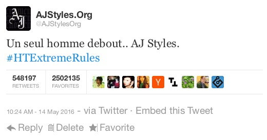 @AJStylesOrg→ Official Twitter's Account of the Phenomenal One, AJ Styles MkIGflwvcCPLBQogllJxpRvy