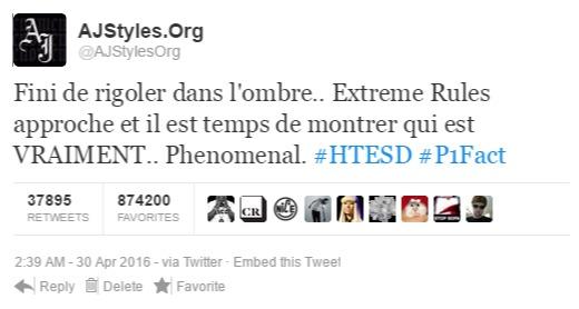 @AJStylesOrg→ Official Twitter's Account of the Phenomenal One, AJ Styles NesPJerlKlcSElFlLNYvxFwW