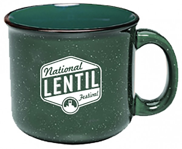 Green coffee mug with National Lentil Festival logo in white
