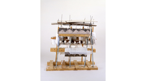 "Drew Shiflett, ""Over The Tracks"", 1994, paper, glue, wood, conduit, aluminum,.... Image #1070"