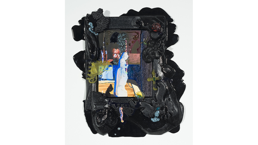 Nicole Awai, All Sorts: Episode 2, 2019, acrylic paint, resin, nail polish, graphite, paper, plastic, inkjet print, canvas and wood, 20 x 16 in.