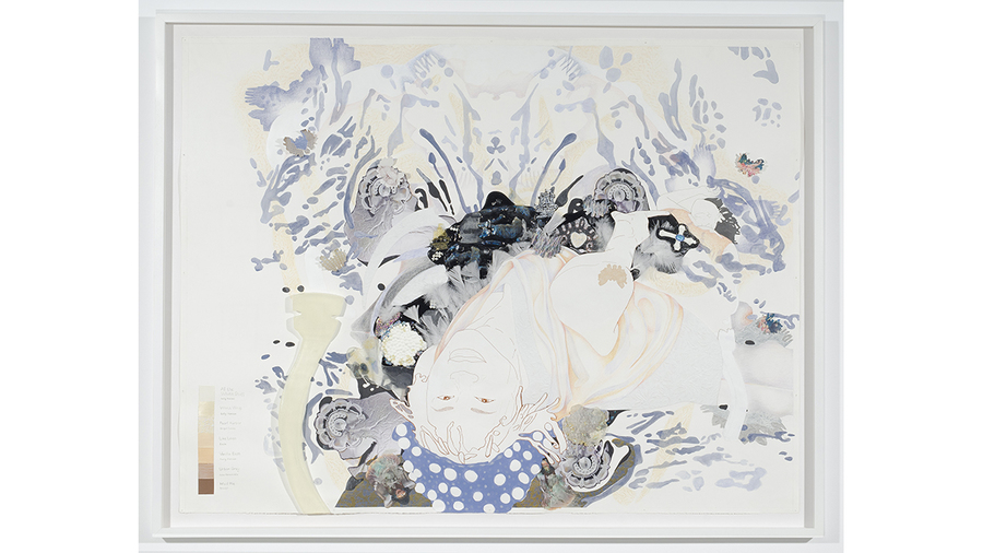 Nicole Awai, All the White Stuff, 2019, Acrylic paint, resin, graphite, nail polish, plastic, inkjet prints, feathers and paper, 41 3/4 x 53 1/2 in. framed