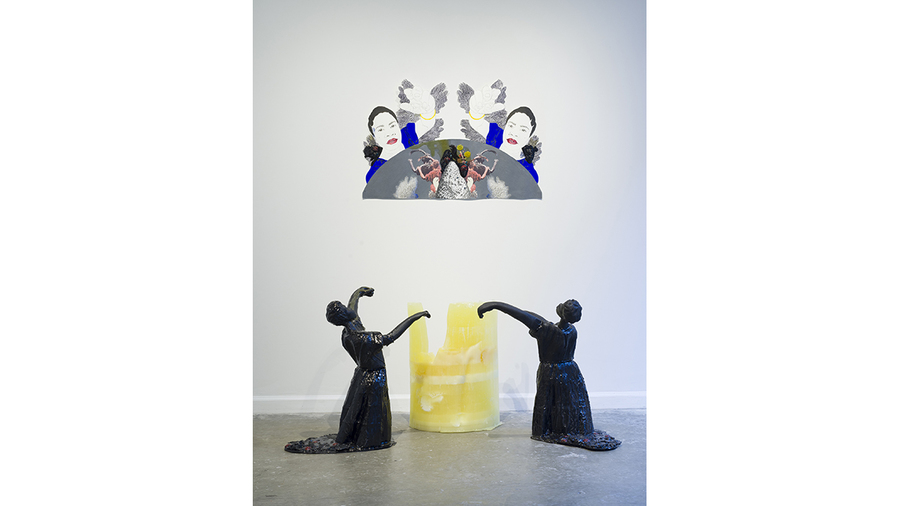 Nicole Awai, Abstrahere - Drawn Away, 2019, Resin, plastic, glass beads, construction foam, nail polish, acrylic paint, graphite and paper, 67 1/2 x 34 x 58 in