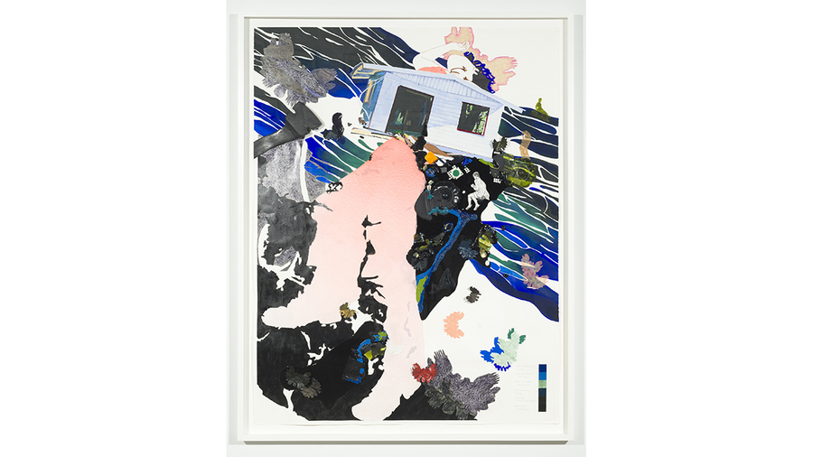 Nicole Awai, Reflection Pool, 2019, acrylic paint, resin, nail polish, graphite on paper, 53 1/2 x 41 3/4 in. framed