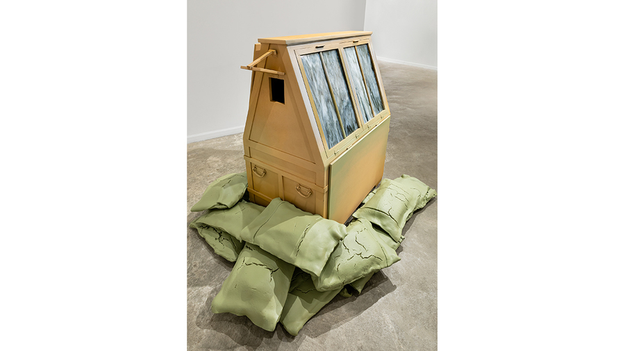 Rachelle Dang, Uncertain Haven, 2019, wood, acrylic spray paint, epoxy resin, clay, wire, stained glass, metal 48 1/2 x 80 x 60 in.