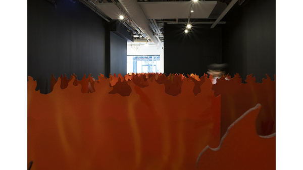 Tom Pnini: Two Figures in a Field (installation view - flames). Image #1642