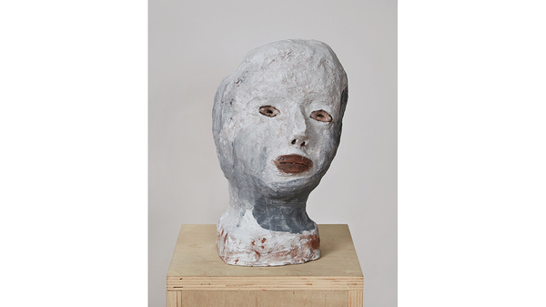 "Elise Siegel, ""Gray and White Head"", 2018, ceramic, underglazes, 10 x 6 x 7 i.... Image #1643"