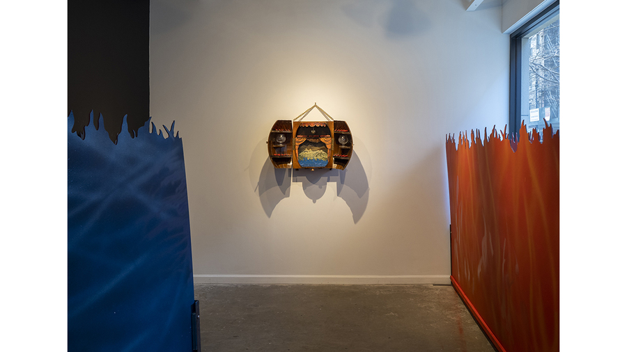 "Tom Pnini: Two Figures in a Field (installation view with ""And a Barrel of Rum"")"