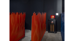 Tom Pnini: Two Figures in a Field (installation view with flames and second r.... Image #1654