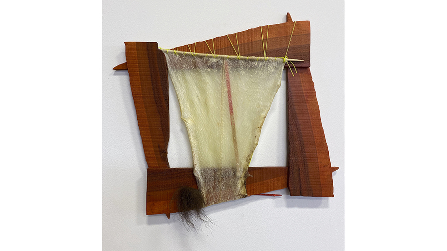 "Carol Hepper, ""Frame Series 1803"", 2018, cherry wood, halibut skin, wood, fishing line, 14 x 14 1/2 inches"