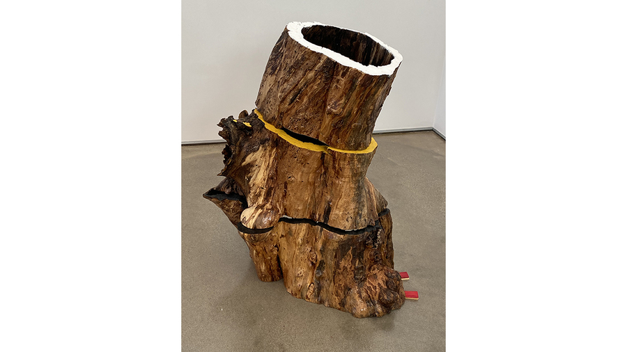 "Carol Hepper, ""Four Directions"", 2019, wood, pigment, 39 x 32 x 24 inches"