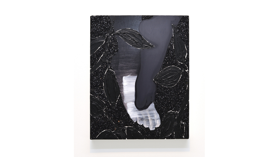 "Devan Shimoyama, ""His Feet"", 2015, Oil, graphhite and glitter on panel, 15 x 12 inches"