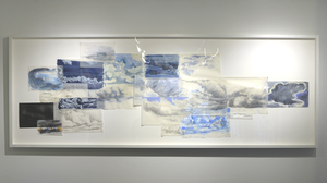 "Fran Siegel, ""20 Clouds Over Itaparica"", 2015, mixed media, 37 x 101.5 inches. Image #251"