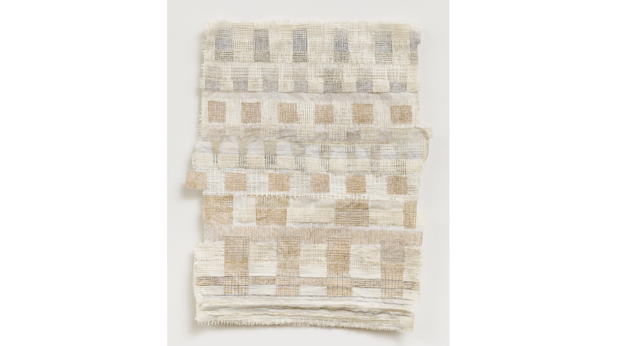 "Drew Shiflett, ""Untitled #67"", 2013, watercolor, graphite, Conté crayon, handmade paper, paper pulp, cheesecloth, 18.75 x 14.75 x 1 inches"