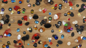 "John Torreano, ""Jewel/Paint, Paint/Jewel"" (detail), 1986–2011, Krylon, acrylic paint, gems on plywood panel, 36 x 36 inches"