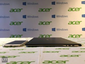 Acer Swift 7 compared to iPhone thickness