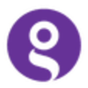The guide logo logo white on purple circle