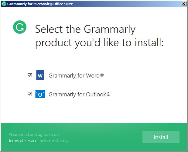 Grammarly select for install