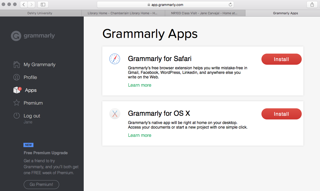 Grammarly Apps for Safari