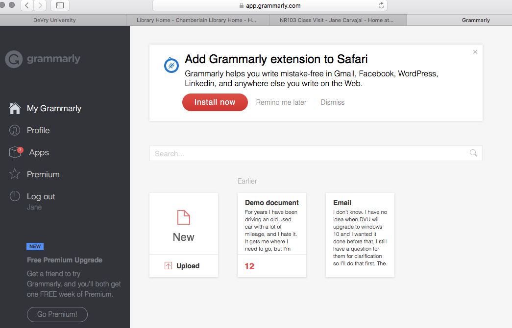 Grammarly Main Page