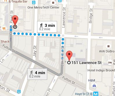 Map showing directions from 151 Lawrence Street to Pearl Street at ASA College Brooklyn