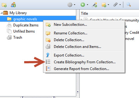 creating a bibliography in zotero