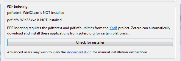 pedf indexing screen before installer is installed