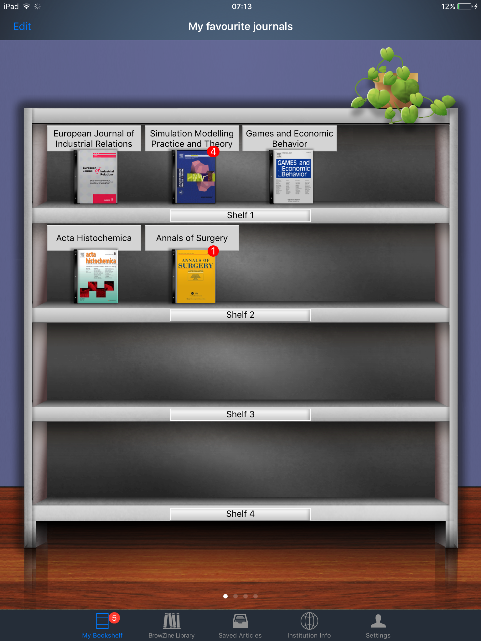 Journals added to your bookshelf (app version)