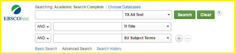 Screencap of the Academic Search Complete search fields.