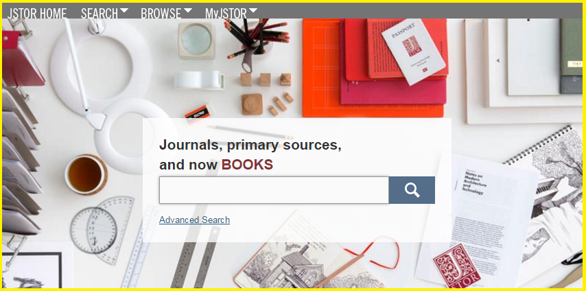 Screencap of JSTOR home screen.