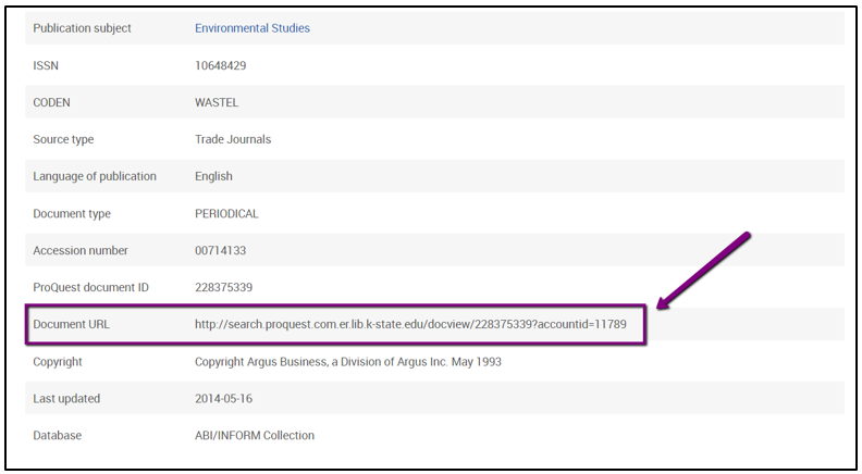 The Document URL is located near the end of the page; it is after the Proquest Document ID.