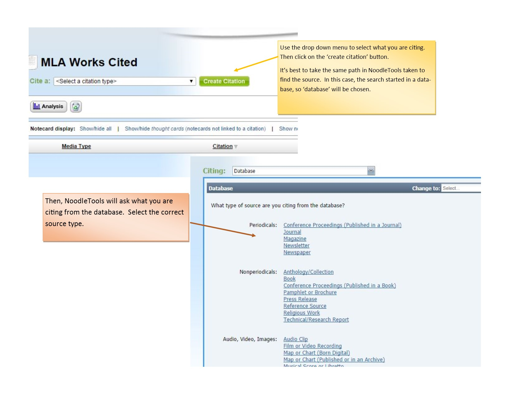 Choose What Is Being Cited  Take The Same Path In Noodletools Taken To  Find The Source