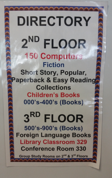 2nd Floor: 150 Computers, Fiction, Short Story, Popular, Paperback & Easy Reading Collections, Children's Books, 000's-400's (Books); 3rd Floor: 500's-900's(Books), Foreign Language Books, Library Classroom 329, Conference Room 330, Group Study Rooms on 2nd & 3 rd Floors