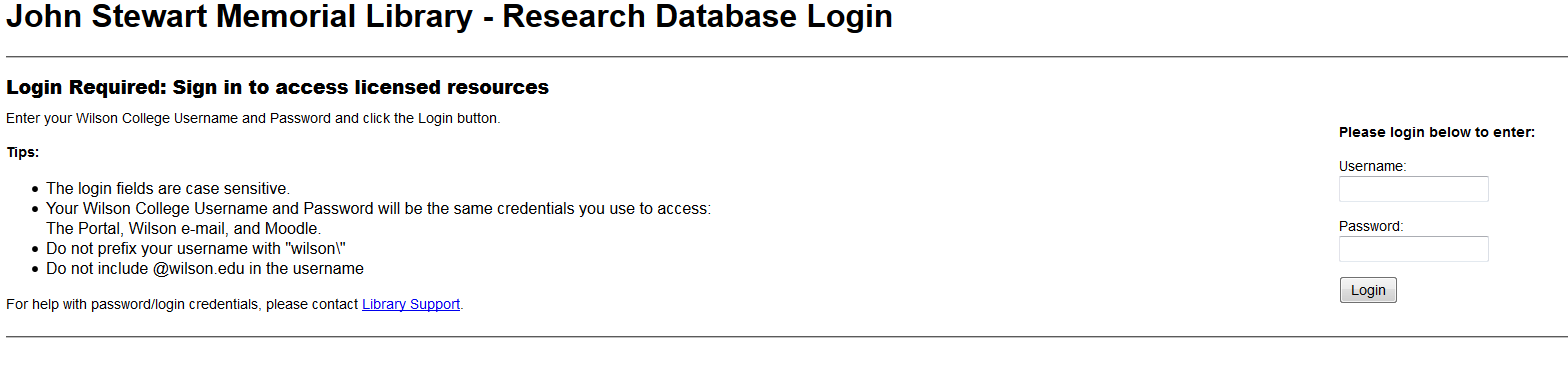 Research databases login page.
