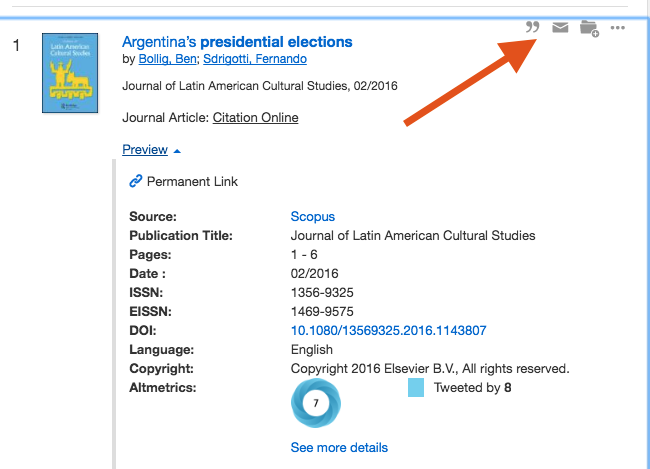 arrow showing email and citation links in results page