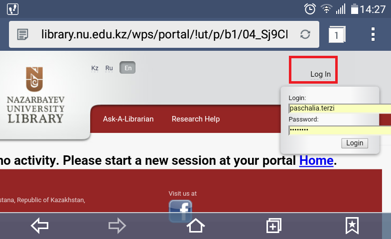 snapshot of the homepage of the library with underlined the Log In link