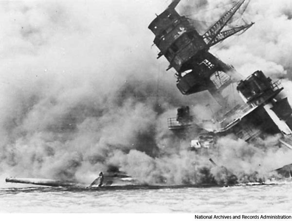 The sinking of the USS Arizona at Pearl Harbor (Credoreference)