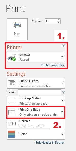 Image shows print options for Microsoft PowerPoint.