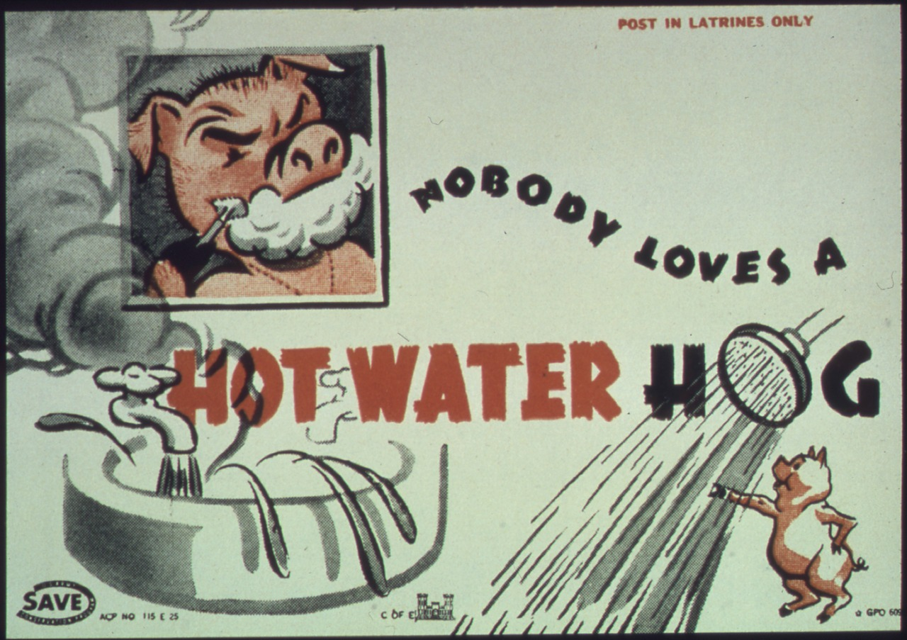 Historical poster from the 1940s, urging citizens to conserve water