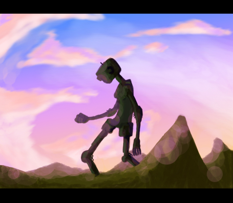 robot walking next to mountains