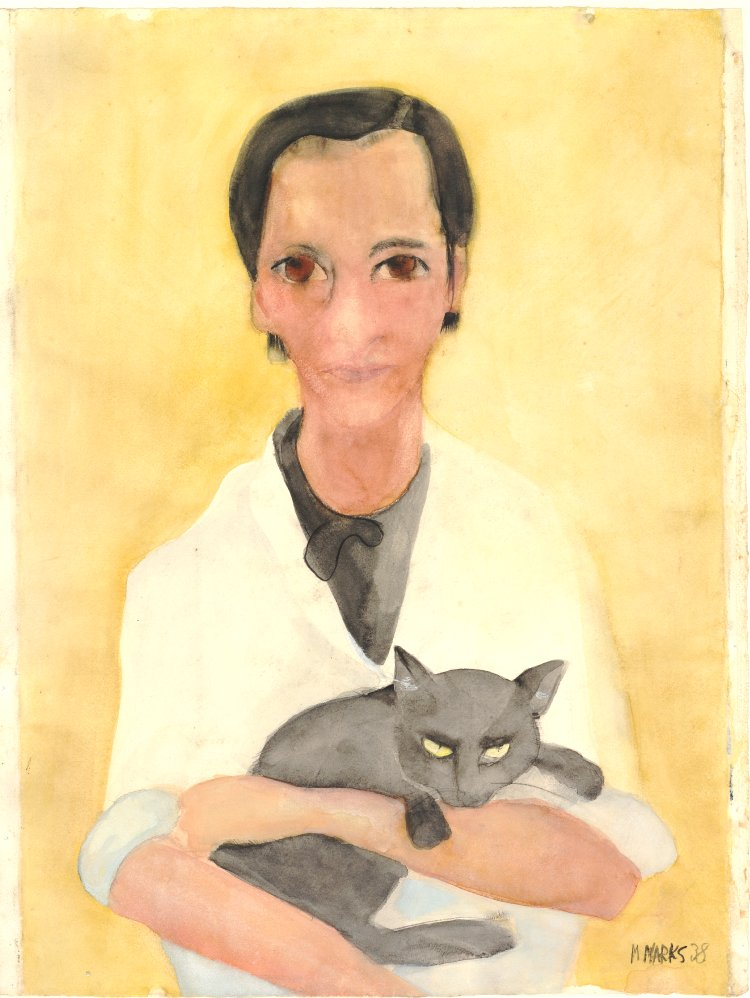 drawing by Margret Marks, woman with cat, yellow background