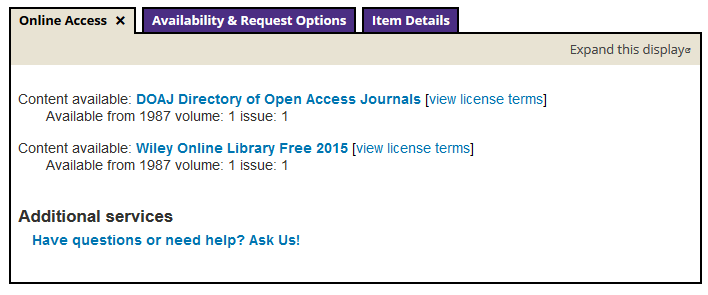 Example of online access options for an article in UW Library Search.